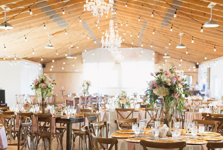 Rustic Barn Reception with Twinkle Lights