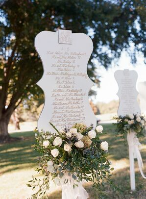 Scalloped Seating Charts with White Roses