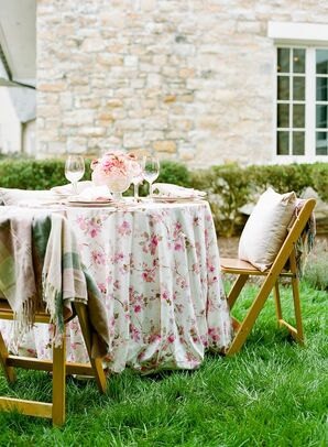 Pink Patterned Linen on Reception Table at Backyard Microwedding in Potomac, Maryland