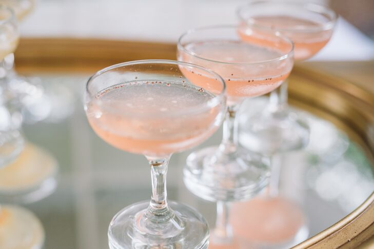 Glamorous Champagne Glasses with Pink Sparkling Wine