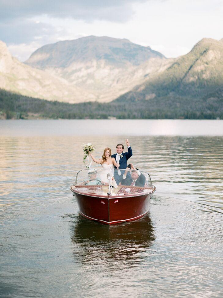 Bride and Groom Arriving Via Vintage Boat