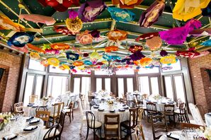 Bright Paper Flower Ceiling Decor