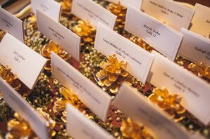 Painted Gold Pine Cone Escort Cards
