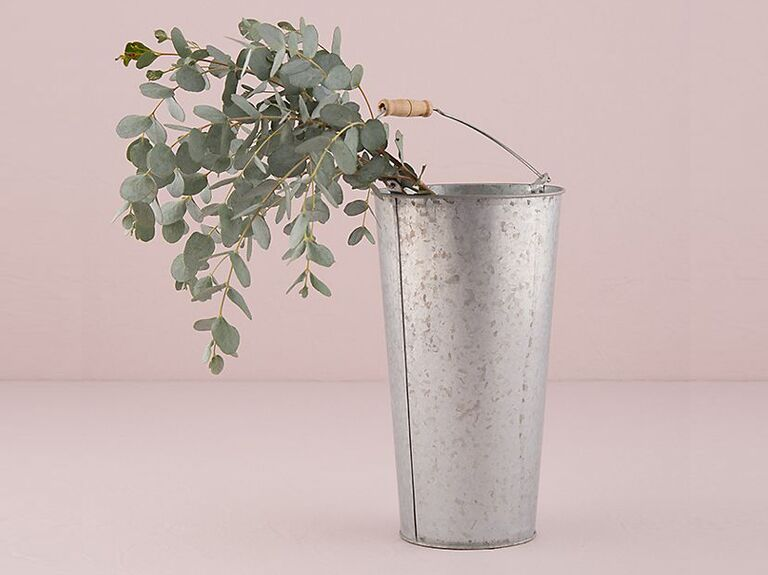 galvanized tin flower bucket with handle