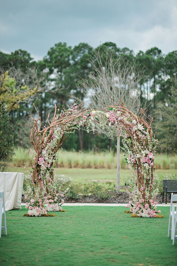 Floral Chuppah with Branches and Cherry Blossoms