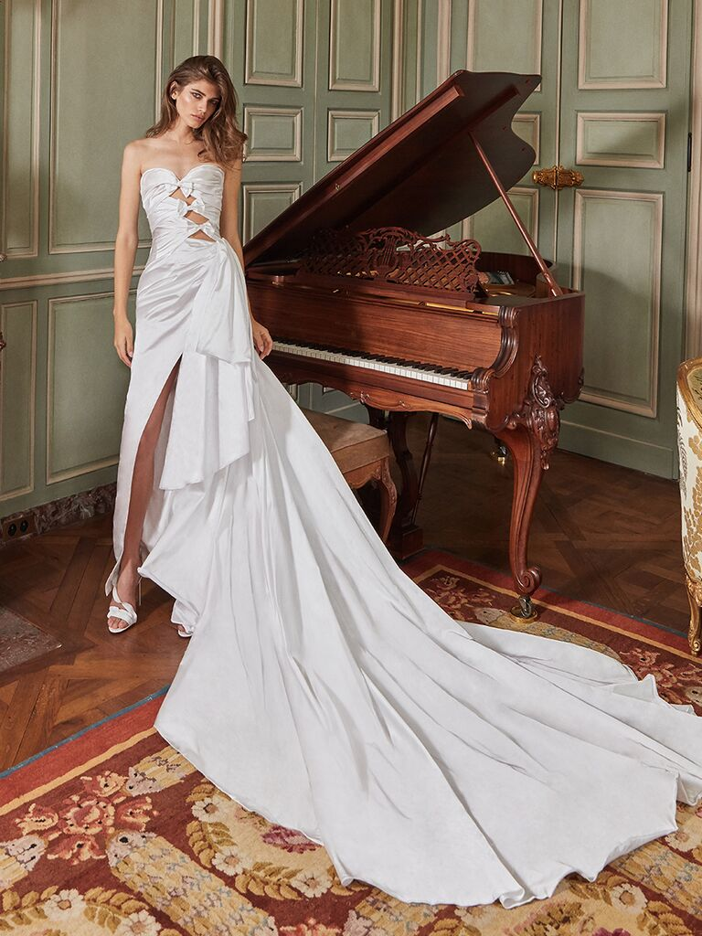 Galia Lahav strapless gown with bows and cut outs