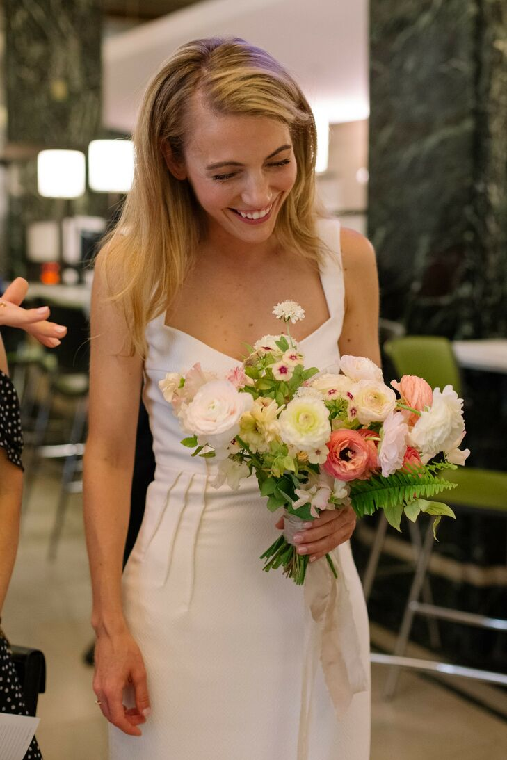 Simple Modern Bride with Down Hairstyle and Romantic Bouquet