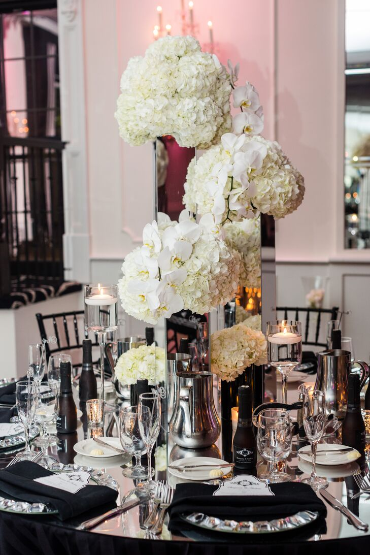 Tall Orchid and Hydrangea Centerpieces in Silver Vases