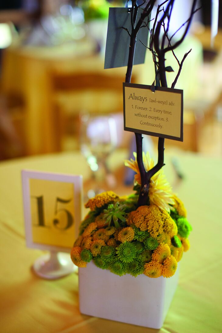 Tightly packed yellow and green kermit mums filled white vases at the reception.