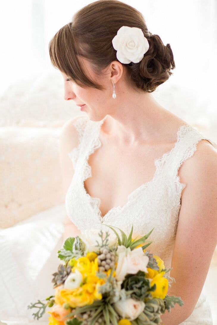 Curled Chignon Bridal Hairstyle