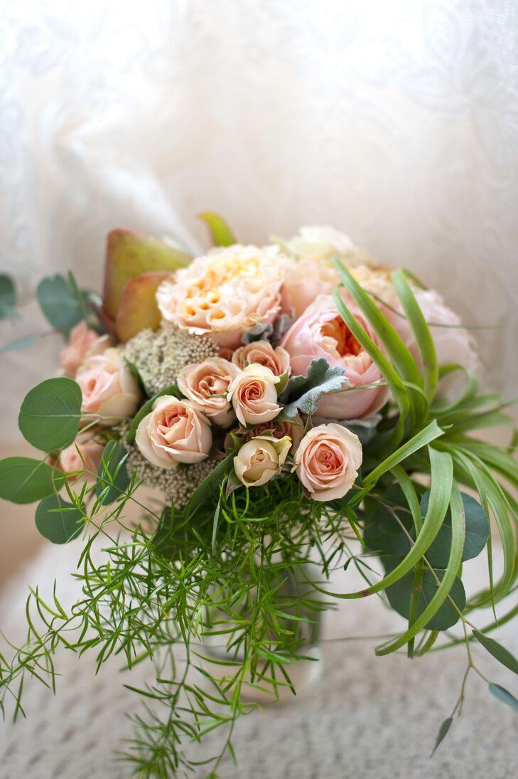 Peach Garden Rose Bridal Bouquet with Succulent, Air Plant and Eucalyptus
