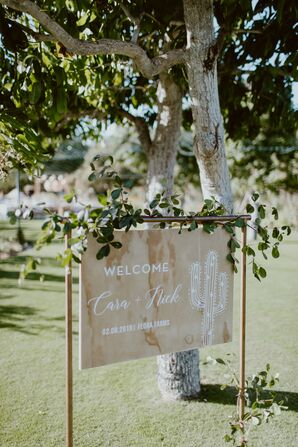 Modern Ceremony Sign with Wooden Frame and Greenery