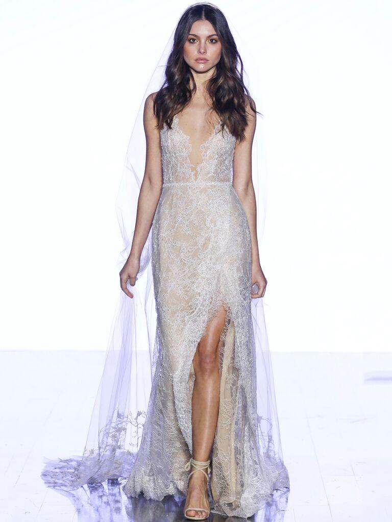 Watters Fall 2019 Bridal Collection lace sheath wedding dress with leg slit