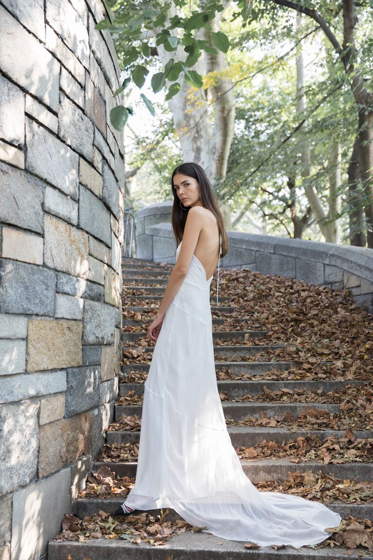 LEIN white A-line dress with open back