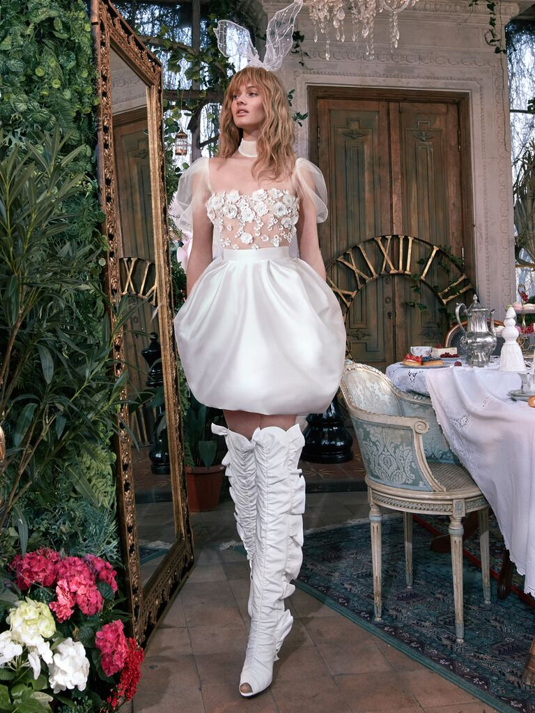 GALA by Galia Lahav Spring 2020 Bridal Collection short wedding dress with bubble skirt