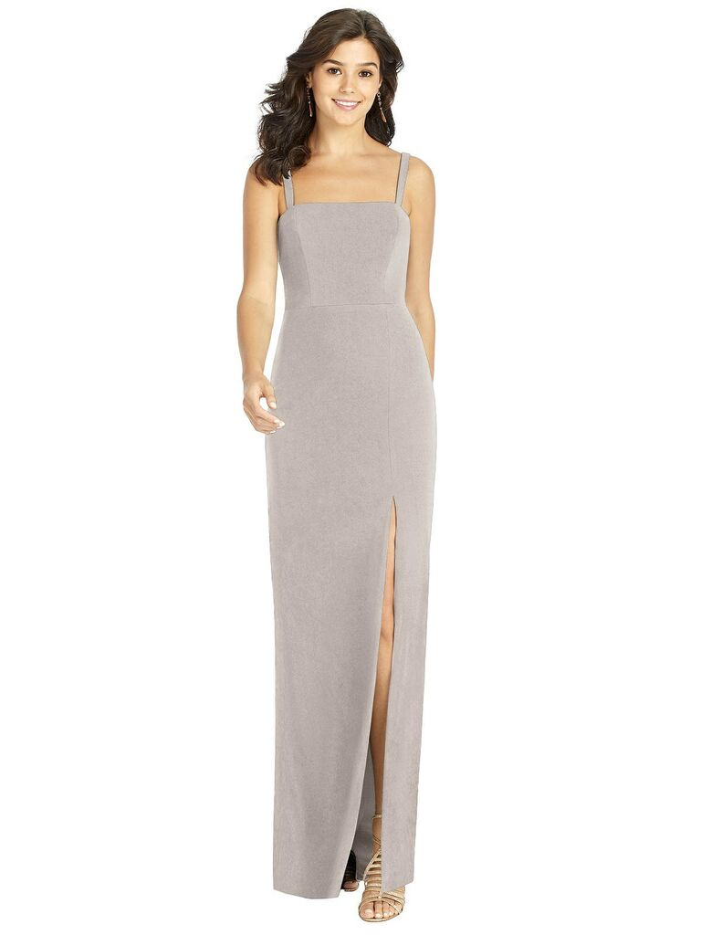 Long taupe bridesmaid dress under $100