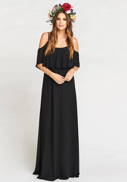 52a04b58d1efe Show Me Your Mumu Caitlin Ruffle Maxi Dress - Black Chiffon Scoop  Bridesmaid Dress