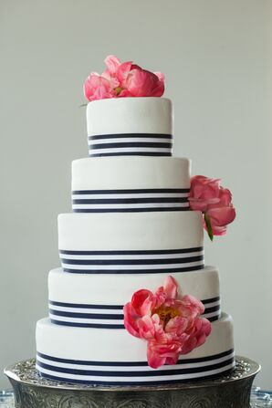 Navy Striped Wedding Cake With Peonies