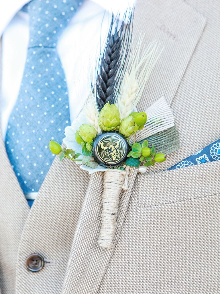 Hops and beer bottle cap boutonniere idea
