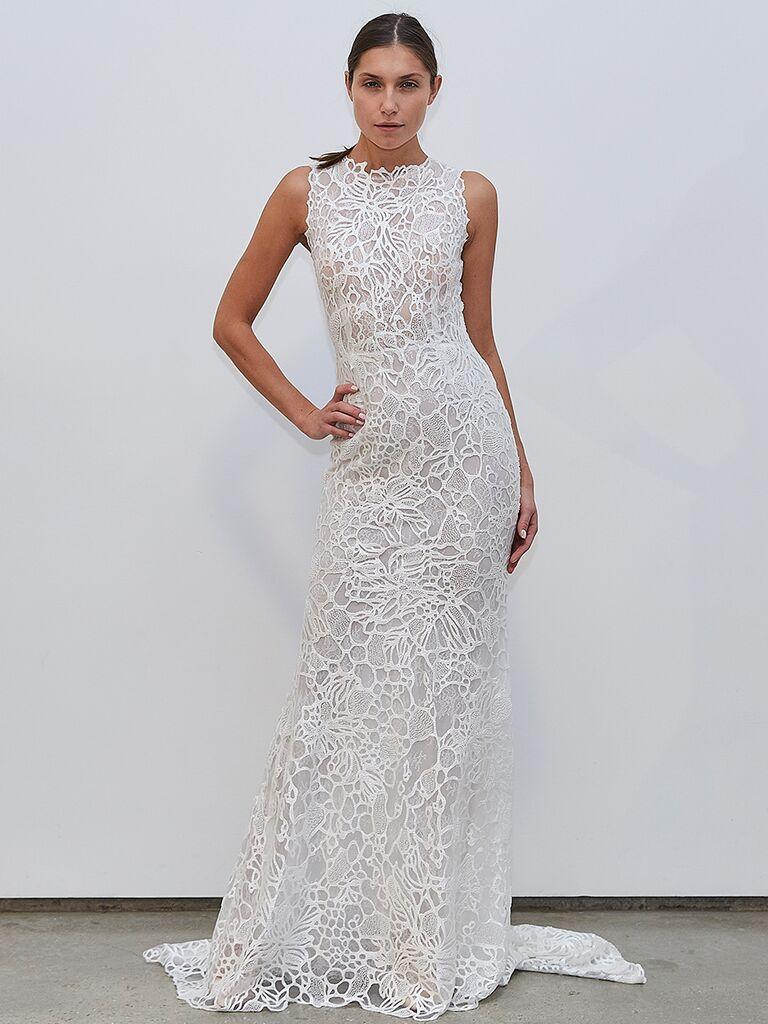 Francesca Miranda high-neck lace dress