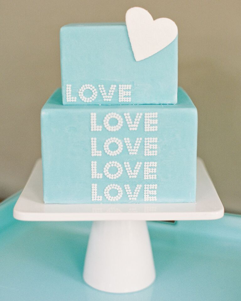 a something blue bridal shower cake
