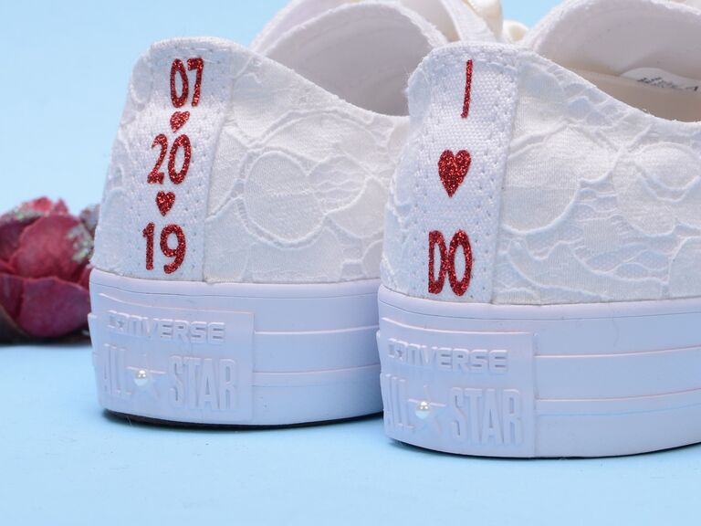 Personalized lace Converse wedding sneakers