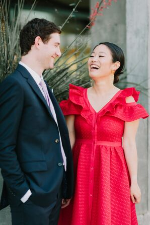 Modern Red Reception Dress and Traditional Suit
