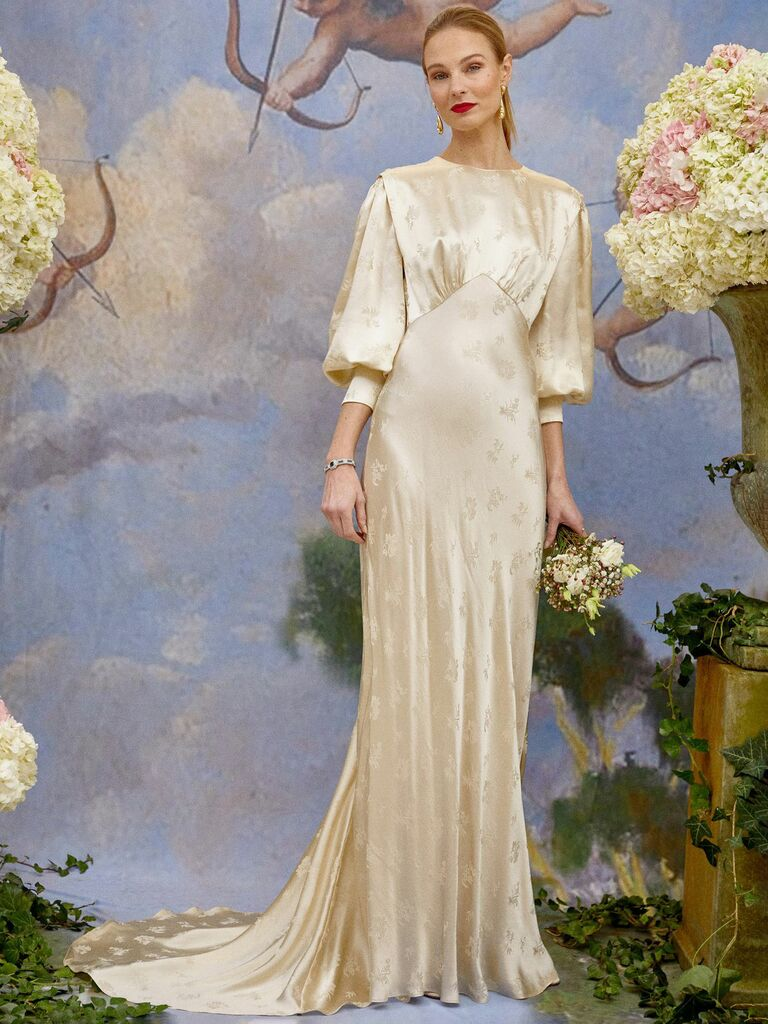 Silk Jacquard Maxi Dress With Train, High Neckline and Bishop Sleeves