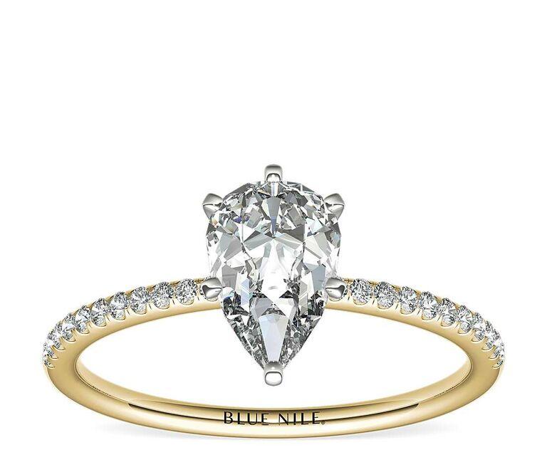 Blue Nile petite micropavé diamond engagement ring