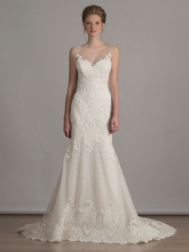 910f49b7a Liancarlo French alencon lace on Italian tulle mermaid wedding dress with  illusion neckline from Spring 2016