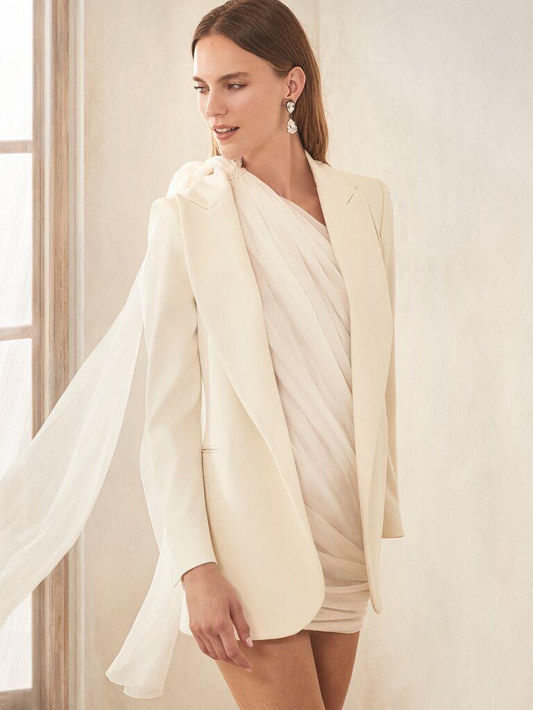 oscar de la renta minidress with bridal blazer