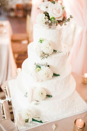 Rustic White Wedding Cake With Fresh Flowers