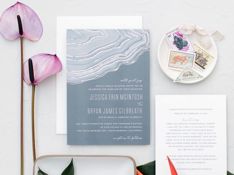 Modern agate wedding invitation