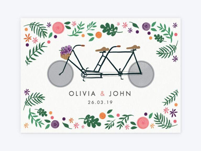 Papier floral bike spring wedding invitation