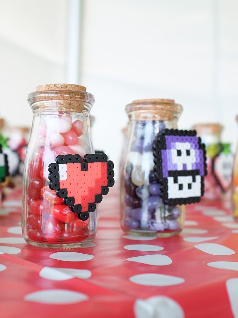 Perler decorated candy jars wedding favor