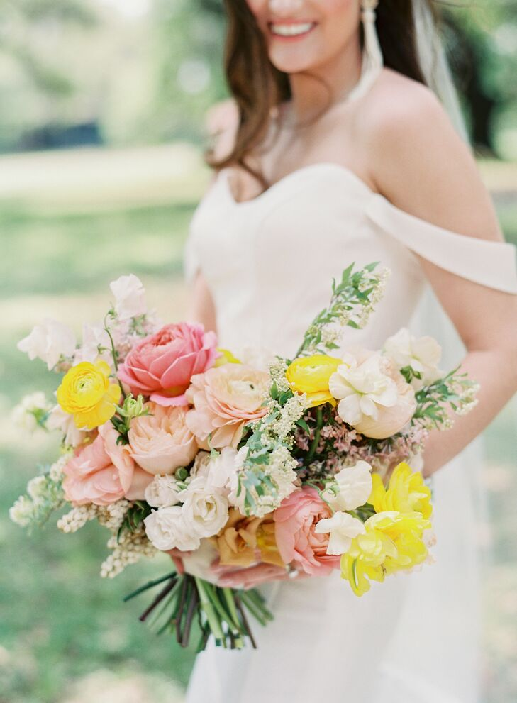 Romantic Pink and Yellow Bouquet with Roses and Peonies