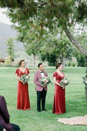 Wedding Party in Burgundy Attire at Smoke Tree Ranch in Palm Springs, California