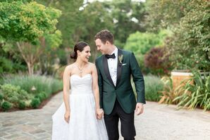 Classic Couple Wearing Elegant Wedding Dress and Dark Green Jacket
