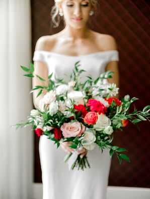 Modern Bouquet of White, Pink and Red Flowers