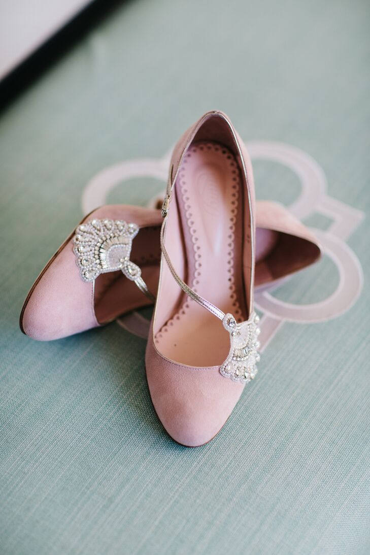 Custom Pink Suede Emmy London Bridal Shoes