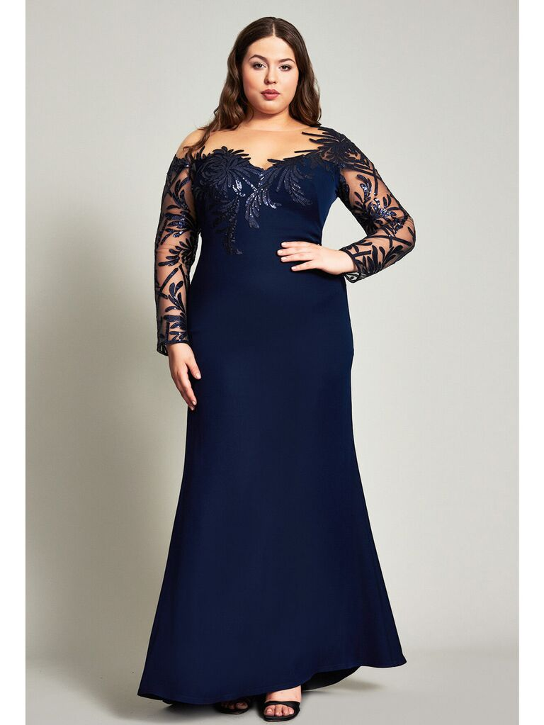 Blue evening gown with illusion neckline and shimmer paillettes