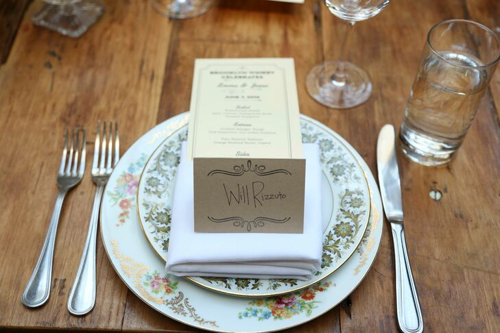 Emma and Jesse's two closest friends took the reigns on the stationery, creating original designs and illustrations for a touch of personalized flair. The escort cards mirrored the venue's overall rustic feel, with the names of each guest hand-lettered onto kraft paper and dressed up with with elegant, vintage-inspired flourishes.