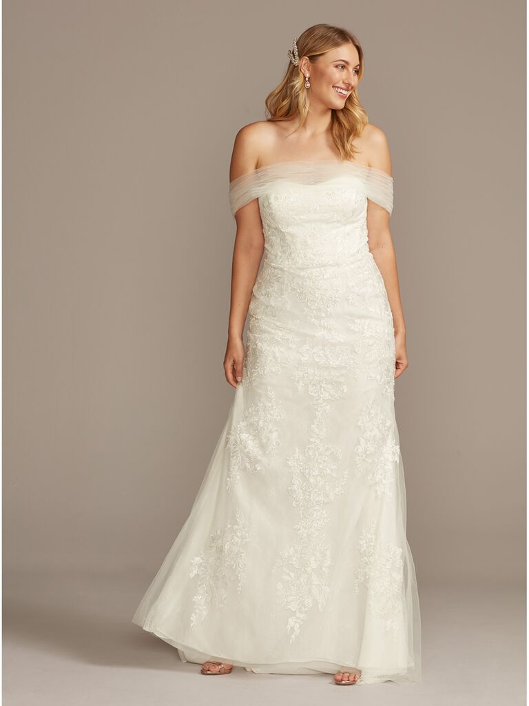 David's Bridal off-the-shoulder wedding dress