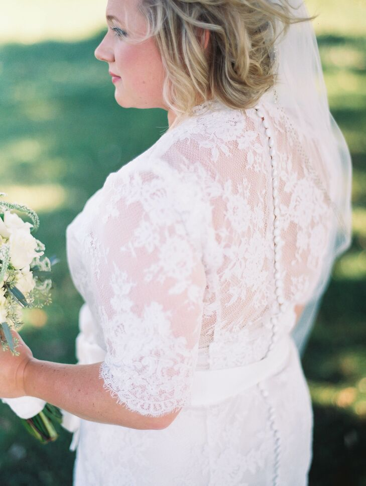 """""""My dress had to have two things: elbow sleeves and lace,"""" Allison says. """"I would say I am modest, but more importantly, I wanted to be comfortable and having my arms hanging out and keeping up a strapless dress was just not something I wanted to worry about."""""""