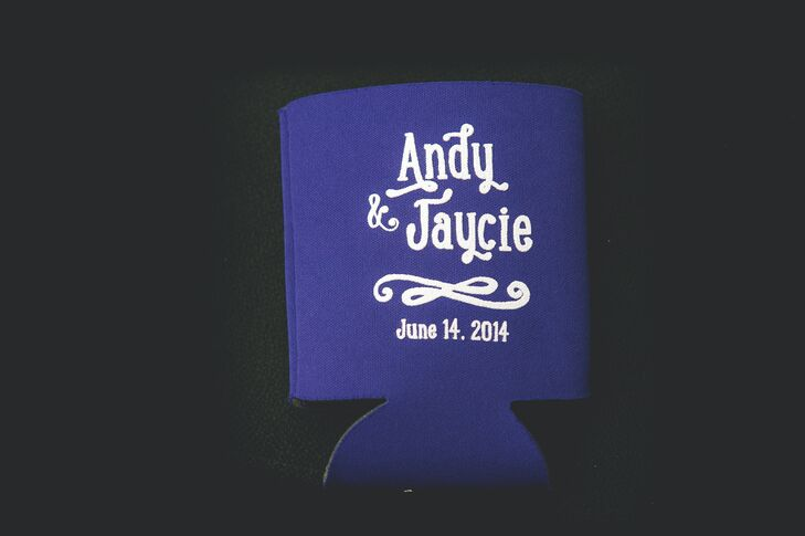 Guests brought home purple koozies as favors, customized with the couple's names and wedding day date.