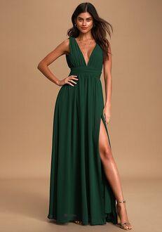 Lulus Heavenly Hues Forest Green Maxi Dress V-Neck Bridesmaid Dress