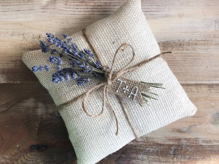 Adorable burlap ring pillow affordable ceremony decor