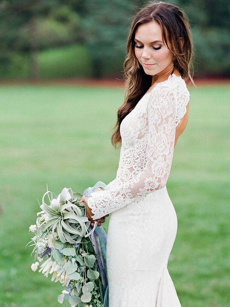 14 gorgeous lace wedding dresses with sleeves long sleeved lace wedding dress by berta bridal junglespirit Gallery