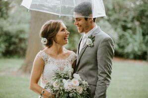 Illusion Lace Bateau Wedding Dress and Neutral Suit