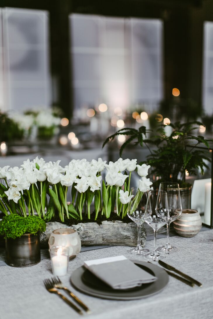 Modern Place Setting with Trough of White Tulips